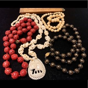 Asian style carved bead necklaces cinnabar bone